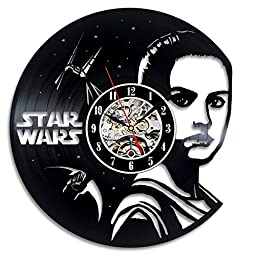 Star Wars The Force Awakens Movie Beautiful Fighter Rey Wall Clock - Decorate your home with Modern Rey Character Art - Best gift for man, boy and friend - Win a prize for feedback