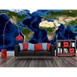 "World Topography & Bathymetry Satellite Image Wall Mural - Wallpaper - 8-Panel - 142"" x 71"""