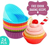 24x ? Premium Silicone Baking Cups ? Replace your Old & Unsafe Aluminum/Paper Baking Cups with a Safe, Non-Stick, Easy to Clean and Durable Silicone Bakeware - Well Packaged Reusable Cupcake Liners in 6 Joyous Colors