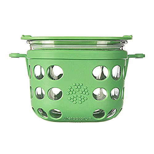 Lifefactory 420001 2-Cup Glass Mobile Food Storage Unit, Grass Green