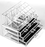DOUBLE LAYER BEAUTY GLAM CLEAR ACRYLIC COSMETIC DRAWER / MAKE UP NAIL POLISH VARNISH DISPLAY STAND / ORGANISER / RACK / HOLDER CAN ALSO BE USED FOR MAKEUP BRUSH SETS, JEWELLERY AND ARTS AND CRAFT - 20 SECTIONS