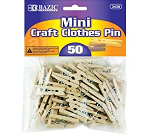 BAZIC Mini, Natural Clothespins, Wood, 50 Per Pack