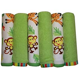 Fisher Price Rainforest Washcloth Set 6-Pack
