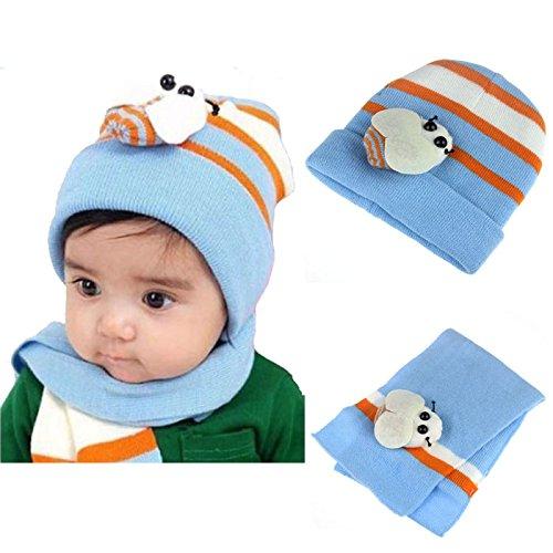 Bestpriceam (Tm) Toddler Infant Baby Kid Warm Plush Beanie Hat Head Cap Scarf Sets (Light Blue)