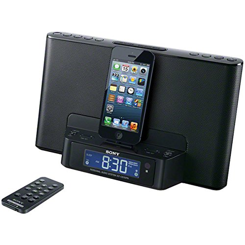 Brand New Sony Silver App-Enhanced Dual Alarm Clock Am/Fm Radio With Lightning Ipod /Iphone Dock