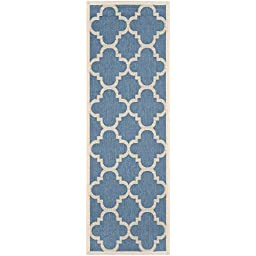 Safavieh Courtyard Collection CY6243-243 Blue and Beige Indoor/ Outdoor Runner, 2 feet 3 inches by 6 feet 7 inches (2\'3\