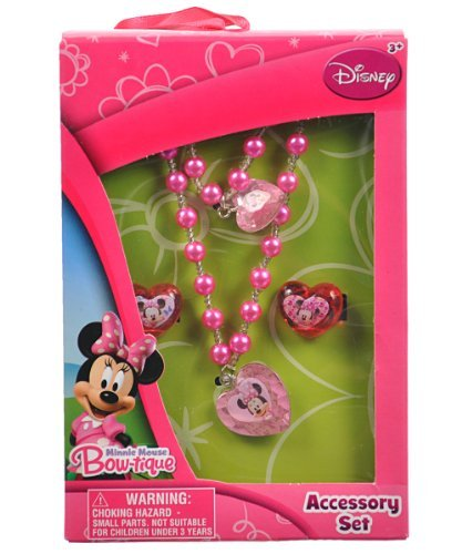 Disney Minnie Mouse Bow-tique Necklace, Bracelet & Rings Jewelry Set