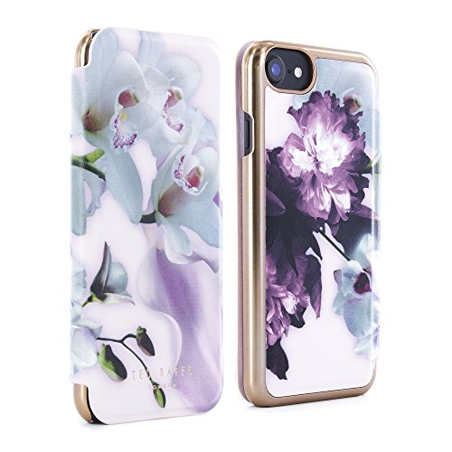 Official TED BAKER SS16 iPhone 7 Case - Luxury Folio Case / Cover in Flower Design for Women with Built-In Interior Mirror for the Apple iPhone 7 - MARIEL - Nude