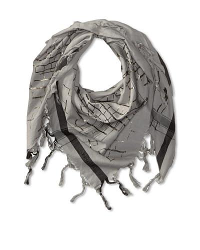LEIGH & LUCA Women's Foil Print Croc Triangle Scarf, Grey