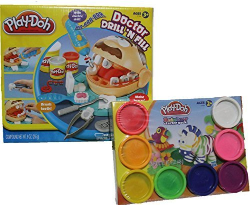 Variety of Mixed Play-Doh Colors and Doctor Drill N Fill Bundle Set for Creative Kid Play Dentist (Play Doh Drill compare prices)
