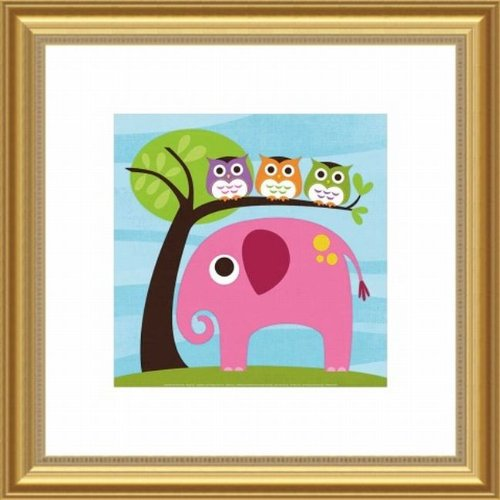 Barewalls Wall Decor, Elephant with Three Owls - 1