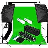 Excelvan Pro Kit Éclairage Studio Photo 1250W 5500K Kit Flash Studio - 2 Lampe d'éclairage + 2 Softebox + 2 Trépied + Kit Toile de Fond 1.8m*2.8m (Vert Noir Blanc) + Sac de Transport