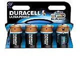 Duracell Ultra Power D Size 4 Pack; Alkaline; Cylindrical; 1.5 V; D; Black; 612 g (MX1300B4)