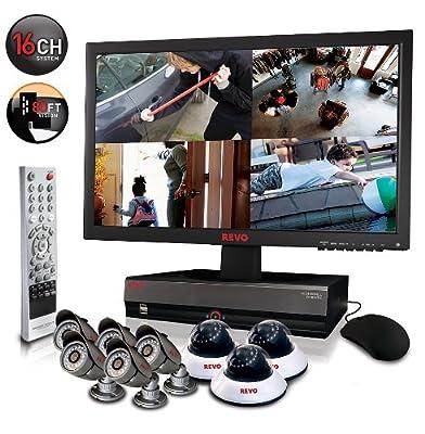 "Revo Remote Home Security Monitoring Surveillance Video Recording Camera System 16Ch 2TB DVR 8 CCTV Cameras Cables & 21.5"" Monitor - R164D3EB5EM21-2T"