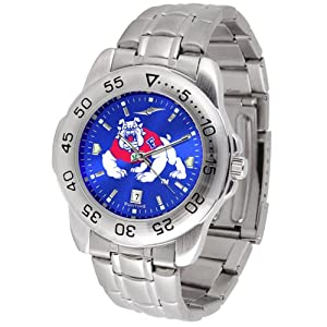 Fresno State Bulldogs NCAA AnoChrome Sport Mens Watch (Metal Band) by SunTime