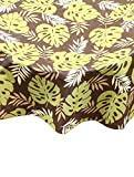 Ritz PEVA Brown Palm Print Table Cloth Round, 70-Inch