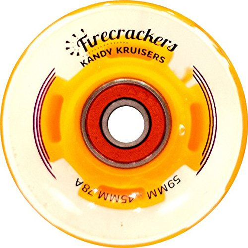 Kandy Kruisers Firecracker Led Clear / Orange Longboard Wheels Includes Bearings - 59Mm 78A (Set Of
