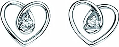Elements Gold Ladies 9ct White Diamond Spiral Heart Earrings of Height 0.8cm