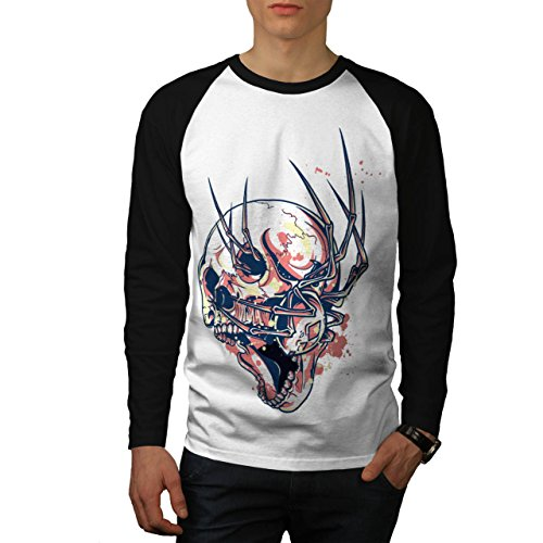 Crazy Spider Skull Horror Web Men NEW White L Baseball LS T-shirt | Wellcoda