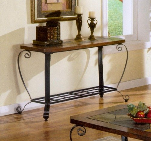Cheap Iron Console Table With Slate Inlay Top (B000PT6PUA)