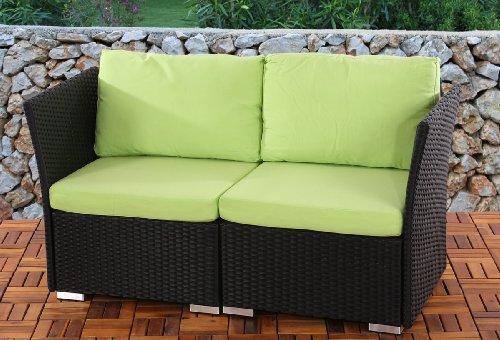 2er Sofa 2-Sitzer Siena Poly-Rattan, Gastronomie-Qualität ~ anthrazit mit Kissen in hellgrün