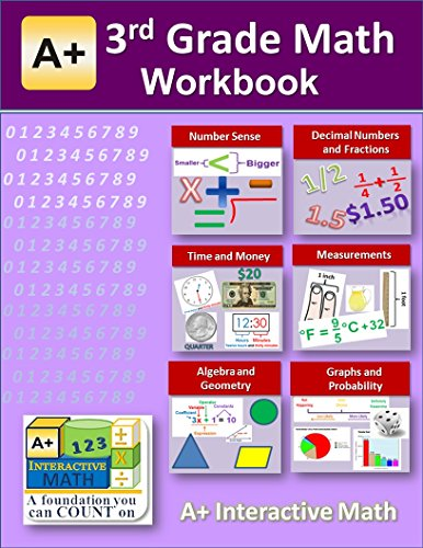 3rd Grade Math Workbook (Printed B&W Plasti-coil bound) (130 Worksheets, 15 Tests and Answer Keys) (Coil Bound compare prices)