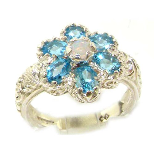 Solid English White Gold Womens Fiery Opal & Blue Topaz Art Nouveau Flower Ring - Size 6.75 - Finger Sizes 5 to 12 Available