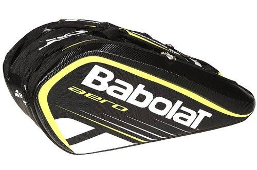Babolat Tennistasche Aero 12er Bag, schwarz/gelb/weiß, 76 x 33 x 46 cm, 72 liters, 751043