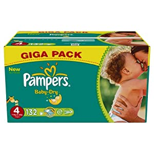 Pampers Baby Dry (Maxi) Nappies Giga Pack - Size 4 (132 Nappies)
