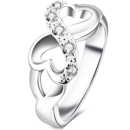 BOHG Jewelry Womens 925 Sterling Silver Plated Cubic Zirconia CZ Heart Infinity Symbol Ring Wedding Band Size 6