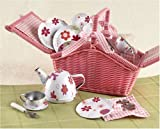 Tin Tea Set, Unbreakable Dishes, Real Pouring Teapot, Wicker Basket