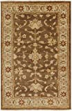 9' x 13' Kalahari Flower Brown and Red Rectangular Wool Area Throw Rug