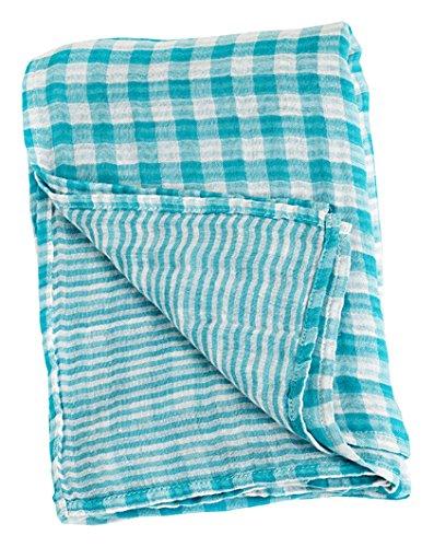 """Lulujo Baby Reversible Muslin Cotton Swaddles Blanket, Aqua, 47"""" x 47"""""""