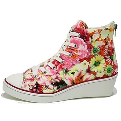 womens floral canvas wedge sneakers flower zip