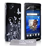 Stylish Butterfly Flower Hard Hybrid Case Cover For The Sony Ericsson Xperia Arc X12 S Black Silver With Screen Protector Film And Grey Micro-Fibre Polishing Clothby Yousave