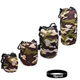 Eggsnow (4-Pack) Waterproof Neoprene Camouflage Lens Pouch for Canon Nikon Sony Lenses S M L XL