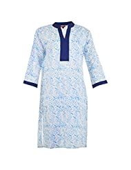 Karni Women's Cotton White & Blue Kurti - B00VA9TLSM