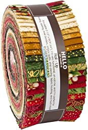 Peggy Toole HOLIDAY FLOURISH TRADITIONAL Roll Up 2.5-inch Quilting Strips Jelly Roll Fabric Metallic Robert Kaufman RU-559-40
