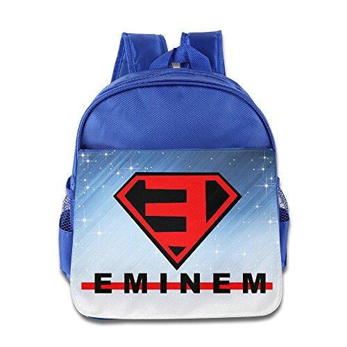 [Eminem Superman Logo Kids School RoyalBlue Backpack Bag] (Bag Of Trash Costume)