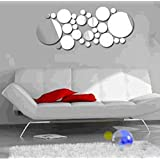 ColorfulHall Modern Acrylic Removable Mirror Circle Wall Stickers Decals Home Decoration