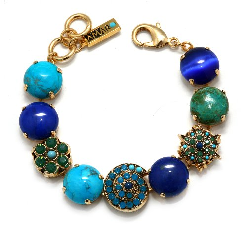 Amaro Jewelry Studio 'Inspiration' Collection 24K Yellow Gold Plated Dainty Bracelet Accented with Sodalite, Malachite, Turquoise, Lapis Lazuli, Cat's Eye and Swarovski Crystals