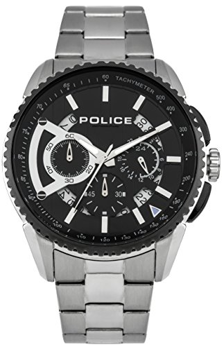 Police Gift Set with Interchangable Strap Men's Quartz Watch with Black Dial Analogue Display and Silver Stainless Steel Strap PL.13648MSTB/02M.AL