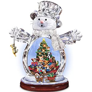 Crystal Snow Cat Christmas Figurine: Purr-fect Holidays by The Bradford Exchange