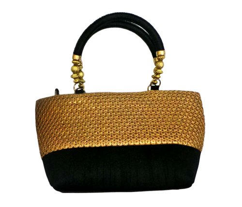 Bhamini Resham Handle Gold Sequinned Border Handbag (Black) (yellow)