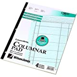 Wilson Jones ColumnWrite Columnar Pad, 11 x 8.5 Inch Size, Ruled Both Sides Alike, 41 Lines per Page, 4 Columns, Green, 50 Sheets per Pad (WG7204A)