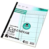Wilson Jones ColumnWrite Columnar Pad, 11 x 8.5 Inch Size, Ruled Both Sides Alike, 41 Lines per Page, 4 Columns, Green, 50 Sheets per Pad (WG7204A)