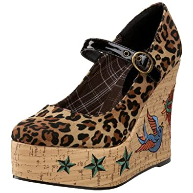4.5 Inch Cork Wedge Pump Women'S Size Shoe With Tattoo Embroidery (Leopard;5)