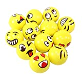 Set of 12 Assorrted Big Happy Face Fun Emoji Hand Wrist Finger Exercise Stress Relief Therapy Squeeze Ball