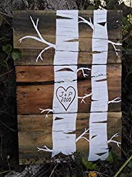 Rustic Tree Pallet Art with Customizable Initials and Date.