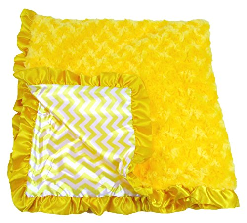 Girls Boy Unisex Yellow Chevron Print Minky Baby Blanket - 1